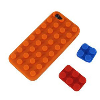 Leegoal Orange Brick Block Silicone Soft Case Cover Fit for the New iPhone 5 5S -