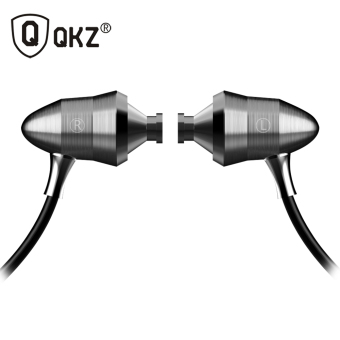 Harga Original QKZ New Gift Universal Metal Dynamics HiFi Stereo Super Bass In-Ear Headphones with Microphone for Phone Tablet MP3(Silver)