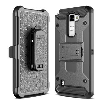 Harga for LG Stylus 2 & LS775 K520 [Steel Clamp] GuluGuru Heavy Duty Advanced Armor Belt Clip Holster With Built-in Kickstand Cell Phone Drop Protection Case Cover - intl