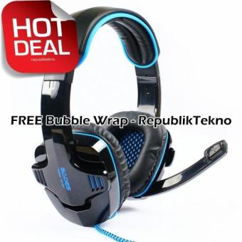 Harga Sades Wolfang SA-901 Headset Gaming High Quality Bass with Sound Card - Hitam USB 2.0 Headphone with Microphone