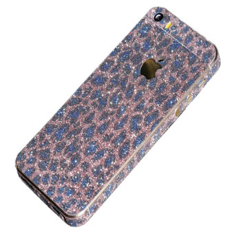 Harga Leopard Print Dull Polish Rhinestone Diamond Shining Bling Full Body Skin Sticke Front Back Glitter Cover Film for Apple iPhone 5 5S