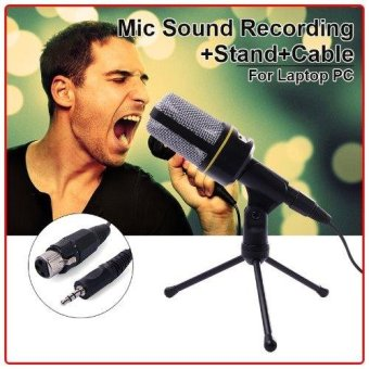 Harga XCSource 3.5mm Microphone Condenser Sound Recording Stand+Cable for Laptop PC Skype