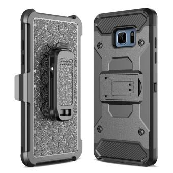 Harga for Samsung Galaxy S7 Edge [Steel Clamp] GuluGuru Heavy Duty Advanced Armor Belt Clip Holster With Built-in Kickstand Cell Phone Drop Protection Case Cover - intl