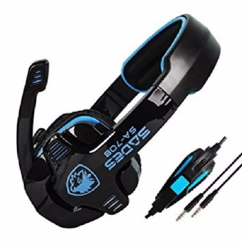 Harga Sades G-Power SA-708 Headset Gaming - Biru Hitam with Microphone