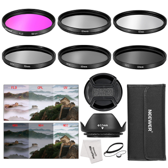Harga Neewer 52MM Filters(UV+CPL+FLD+ND2+ND4+ND8)+Tulip Lens Hood+Lens Cap+Cap Keeper - intl