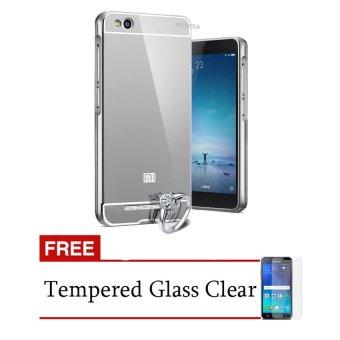 Case untuk Xiaomi Redmi 3 Bumper Backcase Mirror Series - Silver + Gratis Tempered Glass