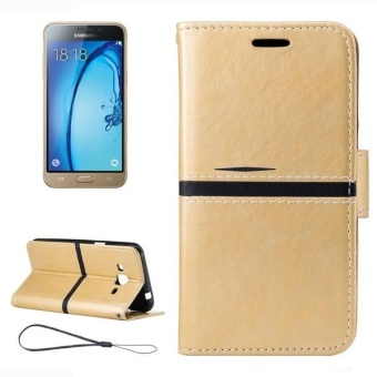 Harga For Samsung Galaxy J3 (2016) / J310 Crazy Horse Texture Horizontal Flip Leather Case With Holder and Card Slots and Wallet and Photo Frame and Lanyard (Gold) - intl