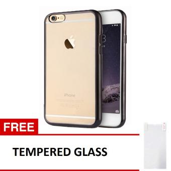 ... Case iphone 4 4S Softcase List Chrome Hitam Gratis Tempered Glass