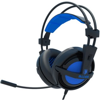 Harga Sades Headset Gaming Locust SA-704 - USB 2.0 Soundcard and Microphone Biru