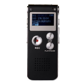 Harga Yika Digital Dictaphone MP3 Player 8GB Steel Rechargeable Voice Recorder (Black)