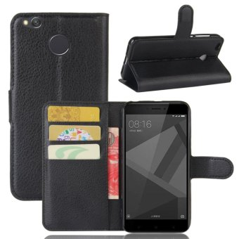 Harga Leather Flip Cover Protective Case For Xiaomi Redmi 4X (Black)