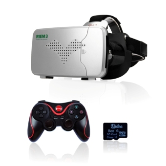 Harga Riem 3 +T3+SDv02 VR Box Cardboard 2 with Capacitive Touch + Gamepad T3 & 8G Game + Virtual Reality Glasses RIEM3+GP-T3+V02