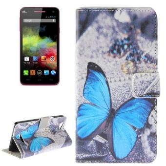 Harga Blue Butterfly Pattern Horizontal Flip Magnetic Buckle Leather Case With Holder and Card Slots and Wallet For Wiko Rainbow - intl