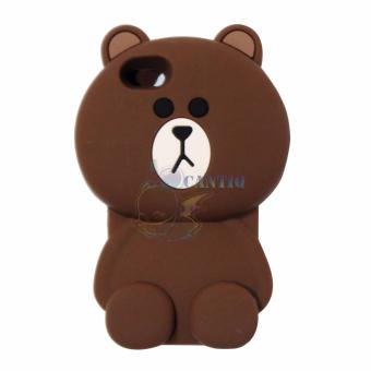 QCF Silicon Case 3D For Apple iPhone 5G / iPhone 5S / iPhone 5SE / Iphone5G / Iphone 5S / Iphone 5SE Soft Back Case Beruang Cokelat Polos - Boy Bear