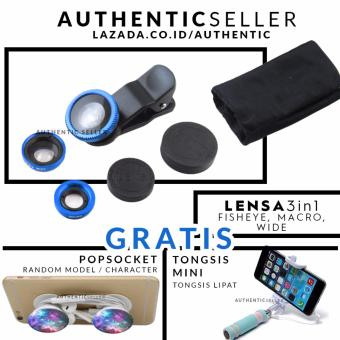 Harga Authentic Lens 3in1 Fisheye - Wide - Macro Lensa Universal Gratis Tongsis Mini Holder U Lipat Tombol + Pop Socket / Popsockets