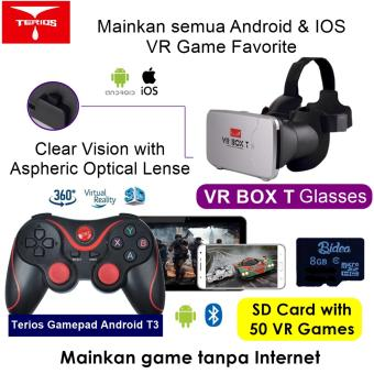 Harga VR Box T +T3+SDv02 3D VR Cardboard 2 with Capacitive Touch, Gamepad T3 & 8G Game