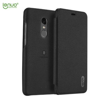 Harga Xiaomi Redmi Note 4X Case, Lenuo Lemeng Ultra Thin Crash Proof Slim Fit Flip Up Inside Card Slot PU Leather Cover Soft PC Protective Shell Integrated Back Case for Xiaomi Redmi Note 4X - Black - intl