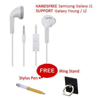 Harga Headphone Stereo Super Bass Handsfree for Samsung Galaxy J1 / J2 / Young Gratis Stylus + iRing