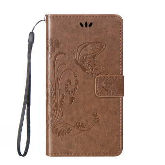 Harga SZYT Phone Case for Samsung Galaxy S3 Mini i8190 Imprint Butterfly with Handle Strap Light Brown