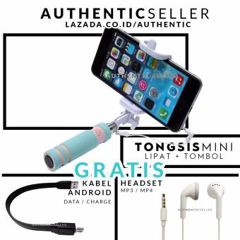 Harga Authentic Tongsis Mini Tombol Lipat Portable - Selfie Tongkat Narsis Otomatis Gratis Handsfree MP3 / MP4 Bass + Kabel Data Android Micro USB 26cm