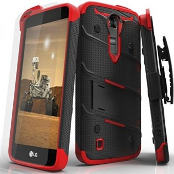 Harga LG K7 Case, Zizo [Bolt Series] w/ FREE [LG K7 Screen Protector] Kickstand [Military Grade Drop Tested] Holster Belt Clip- LG K7 / LG K8 / Tribute 5 - intl