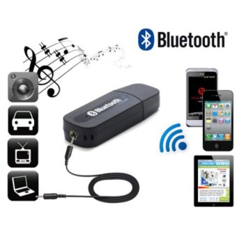 Harga Bluetooth Music Receiver Adapter Audio Music For Speaker 3.5mm Stereo Bluetooth Transmision - Black