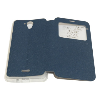 Harga Ume FLip Leather Phone Cover for Hisense F20 / Pureshot FlipCover / Flip Shell / Leather Case / Sarung HP / View - Biru Tua
