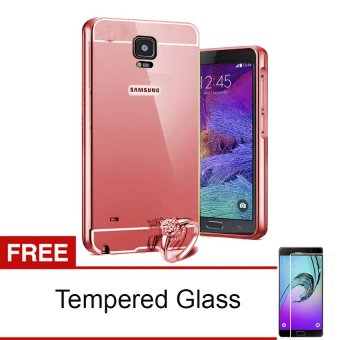 Casing Metal Bumper Mirror for Samsung Galaxy Note 4 - Rose Gold + Free tempered Glass