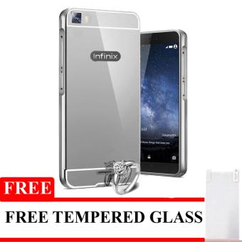Case Aluminium Bumper Mirror for Infinix Zero 3 X552 - Silver +Free tempered Glass