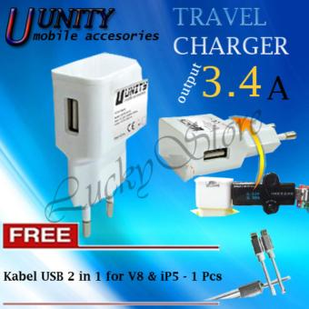 Harga Lucky - Adapter Charger USB Unity / Kepala Charger Universal / Charger Power Bank, HP - Travel Charger Unity 3.4A 1port for Smartphone Plus Free Kabel USB 2 in 1 V8 & iP5-Random-1 Pcs