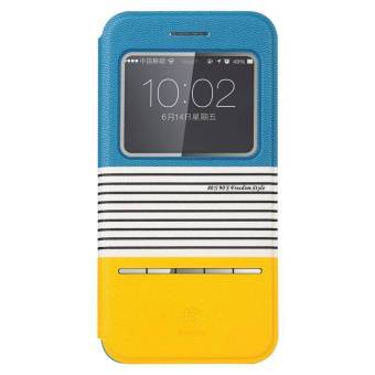 Harga Baseus Eden Leather Case for iPhone 6 Biru - Kuning