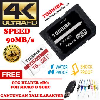 Harga TOSHIBA Micro SD Card With Adapter 16GB Class10 UHS-3 90MB/S, Micro SD 16GB memory card 1080p full-HD 3D 4K Video Card + Gratis Reader 2in1 for Micro & Sdhc + Gantungan Tali Karakter Lucu