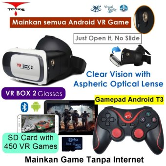 Harga Vr Box 2 play VR game tanpa Wifi with magnet 3d vr glasses kacamata cardboard (VB2+T3+M1)
