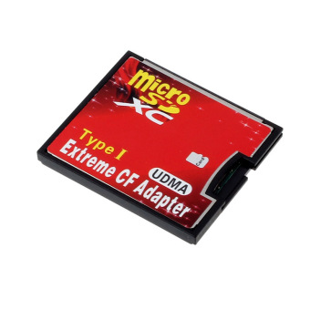 Harga Micro SD TF SDHC To Type I 1 Compact Flash Card CF Reader Adapter UDMA Red
