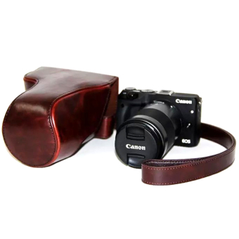 Harga PU Leather Camera Case Bag For Canon EOS M3 (Coffee)