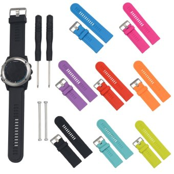 Harga 8 pcs Soft Silicone Replacement Bands With Pin Removal Tools For Garmin Fenix 3 / Garmin Fenix 3 HR (No Tracker, Replacement Bands Only) - intl