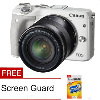 Harga Canon EOS M3 24.2 MP Digital Camera withEF-M 15-45mm F3.5-5.6 IS STM Lens White Free Screen Guard