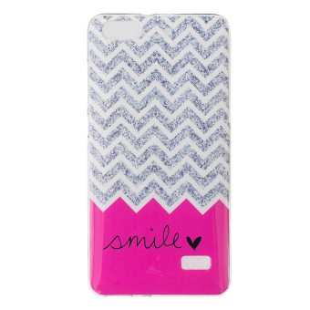 IMD Soft TPU Skin Cover for Huawei Honor 4C - Chevron Stripe and Smile - intl