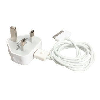 Inggris USB Charger dinding dengan kabel data sinkronisasi untuk iPhone 4 4S iPod iPad (putih) - 3