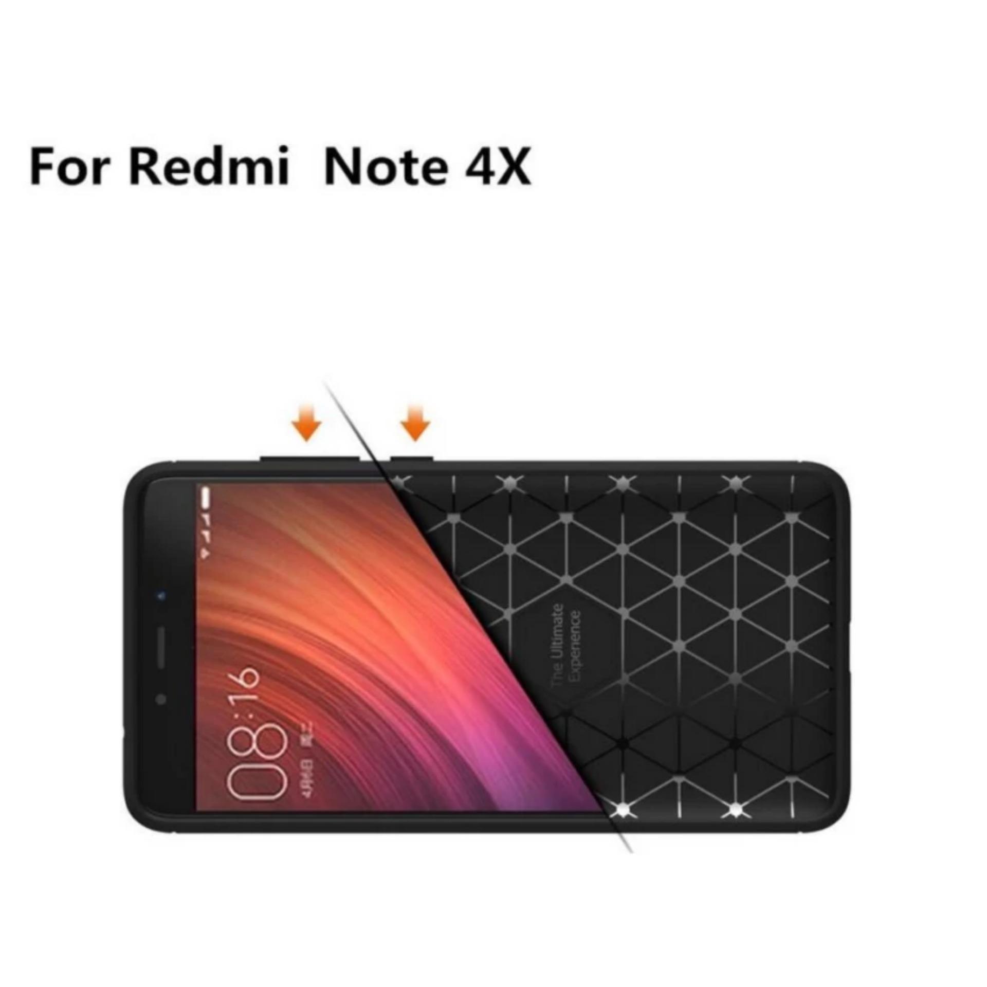 iPaky Carbon Fiber Shockproof Hybrid Case for Xiaomi Redmi Note 4X - Black + Gratis iRing
