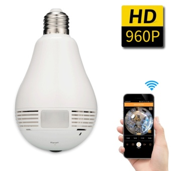 Harga JinGle 360 degree Panoramic 960P Hidden wifi Camera Light Bulb MiniSecurity IP Camera - intl