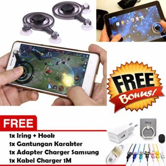 Joystick Mini Game Mobile / Joystick Mobile / Stick Game / Stick Analog Fling for Smartphone & Tablet - Hitam + Gratis Adapter Charger + Kabel Charger + Gantungan Lucu + Iring-Hook