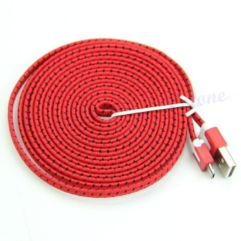 Kabel Data Tali Sepatu Micro USB 3 Meter - Merah