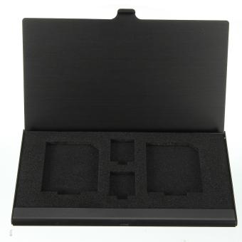 Online murah Langsing penyimpanan kartu memori Mini kotak dudukan pelindung Case logam 2 x disebut TF 2 x SD hitam Bandingkan Toko