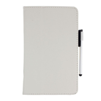 Leather Case Stand Cover for Samsung Galaxy Tab 4 7Inch TabletSM-T230 SM-T231 + Film Pen Reel White