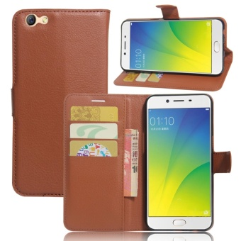 Leather Flip Cover Phone Case Wallet Card Holder For OPPO F3 (Brown) - intl