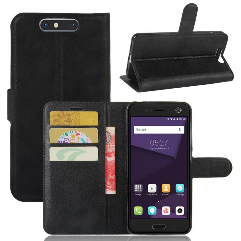 Leather Flip Cover Protective Case For ZTE Blade V8 (Black) - intl