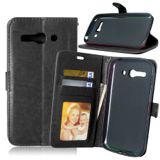 Leather Wallet Case Flip Cover with Credit Card ID Holder for Alcatel One Touch POP C9 OT 7047 7047D (Black)