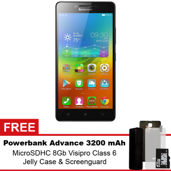 Lenovo A7000 - 8GB - Hitam + Gratis Powerbank Advance 3200 mAh + MicroSDHC 8Gb Visipro Class6 + Jellycase + Screenguard