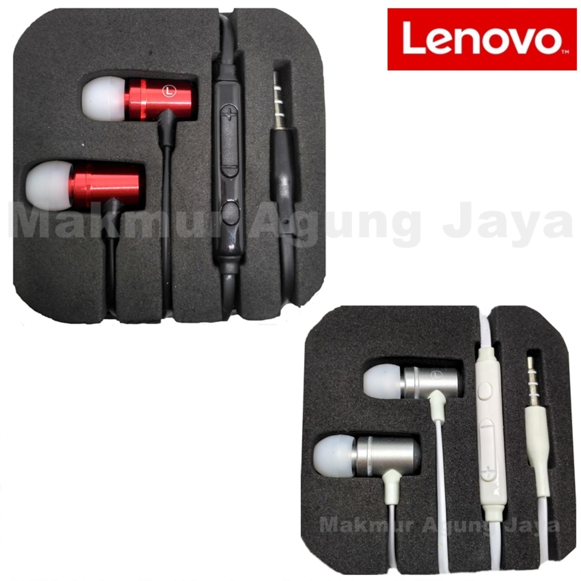 Lenovo Handsfree Headset Earphone Limitid Edition Original Big Bass Generation - Merah / Red .